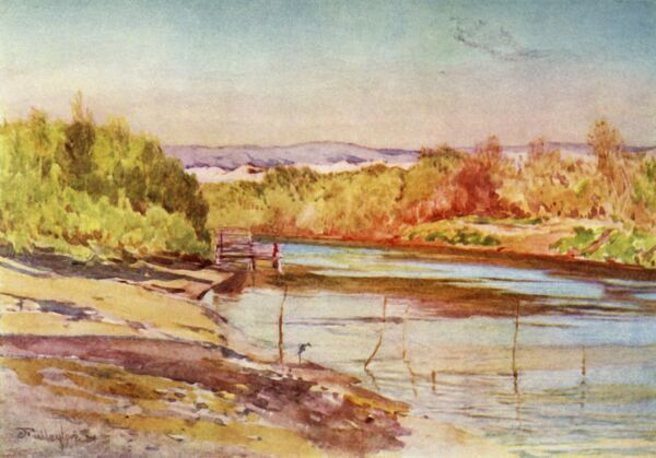 "'The Ford of the Jordan Near Jericho', 1902. Bethabara, the site of the baptism of Jesus and beginning of his ministry. From ""The Holy Land"", painted by John Fulleylove, R.I. [Adam & Charles Black, London, 1902]"