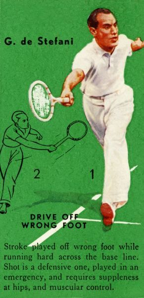 'G. de Stefani - Drive Off Wrong Foot', c1935. From Tennis - An Album of Famous Players in Action, by Gordon R. Weddell. [John Player & Sons,, c1935]