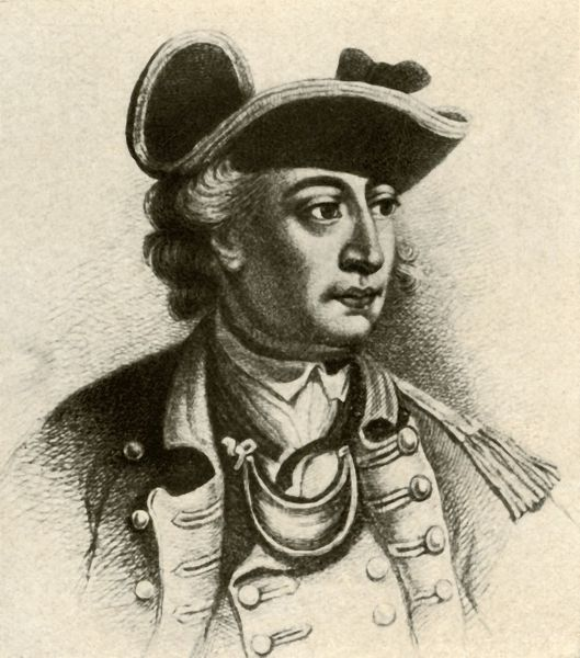 'General John Sullivan, showing cocked hat edged with braid and a gorget', c1770, (1937). John Sullivan (1740-1795) Irish-American General in the Revolutionary War, delegate in Continental Congress and Governor of New Hampshire
