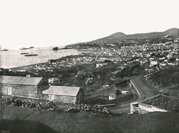 "General view of Funchal, Madeira, Portugal, 1895. The town and harbour on the island of Madeira in the Atlantic Ocean. From ""Round the World in Pictures and Photographs: From London Bridge to Charing Cross via Yokohama and Chicago&quot"
