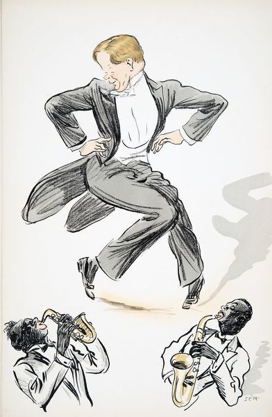 Gentleman in tails and white tie dances to two musicians playing saxophone, from 'White Bottoms' pub. 1927,(colour block print)