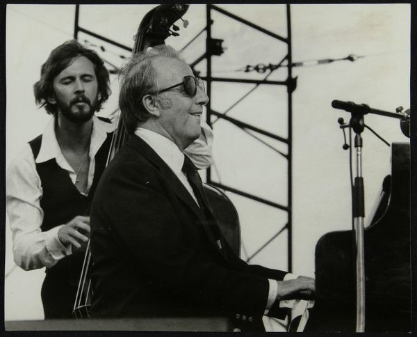 George Shearing and Brian Torff on stage at the Capital Radio Jazz Festival, Alexandra Palace, London, July 1979