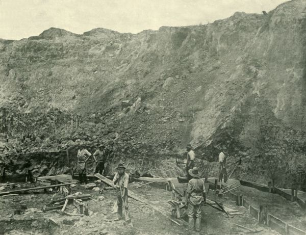 "'Gold Miners Near Beechworth', 1901. Beechworth in the north-east of Victoria, Australia, saw major growth during the gold rush of the mid-1850s. From ""Federated Australia"". [The Werner Company, London, 1901]"