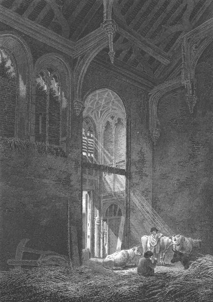 The Great Hall, Eltham Palace, Kent, 1804. Eltham Palace (now in Greater London), was founded as a medieval royal palace, but fell into disrepair until the ruins were converted into a private house for the Courtauld family in the 1930s. The Great Hall