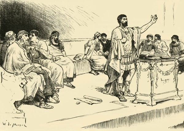 "'Hannibal in the Assembly at Carthage', 1890. From ""Cassell's Illustrated Universal History Vol. II - Rome"", by Edmund Ollier. [Cassell and Company, Limited, London, Paris and Melbourne, 1890]"