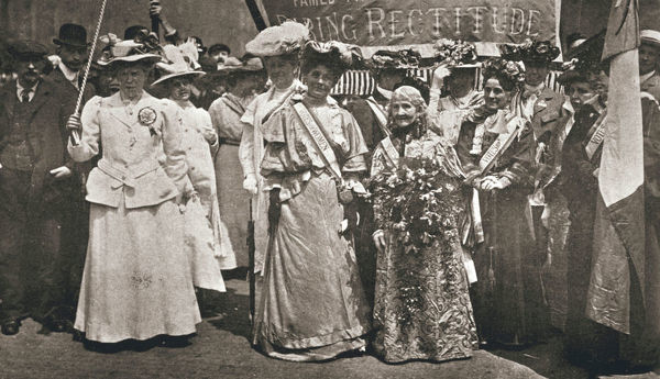 The head of the Women's Sunday Procession to Hyde Park, London, 21 June 1908. On Sunday 21 June 1908 thousands of people gathered in London to watch six processions organised by the suffragettes which all congregated in Hyde Park