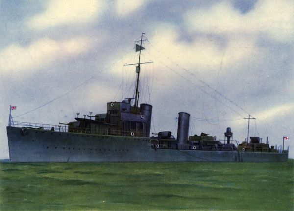 "'H.M.S. ""Broke"" '. HMS Broke, a Thornycroft type flotilla leader of the Royal Navy, was launched in 1920"