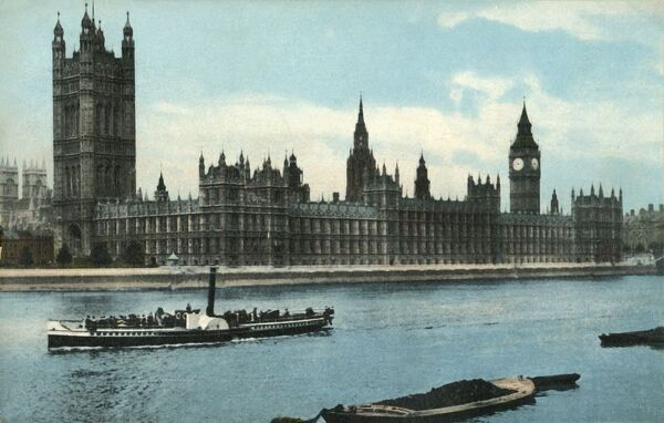 The Houses of Parliament, Westminster, London, c1907. View across the River Thames, with a steamship in the foreground. Postcard