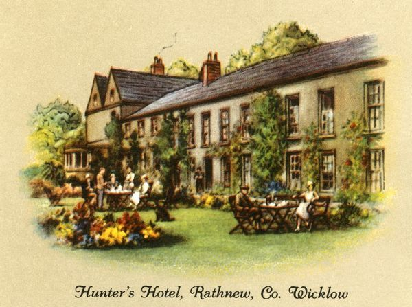 "'Hunter's Hotel, Rathview, Co. Wicklow', 1936. Hunters Hotel, the oldest coaching inn in Ireland dating to c1650. From ""Old Inns - A Series of 40"", 1936. [W. D. & H. O. Wills, 1936]"