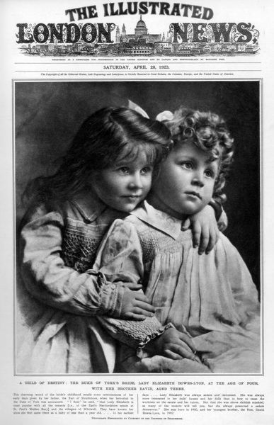 The Illustrated London News, 28th April 1923. Lady Elizabeth Bowes-Lyon, at the age of four, with her brother David, aged three. Elizabeth Bowes-Lyon married the Duke of York (the future King George VI) on 26th April 1923