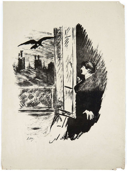 Illustration for the poem Le Corbeau (The Raven) by Edgar Allan Poe, 1875. Private Collection