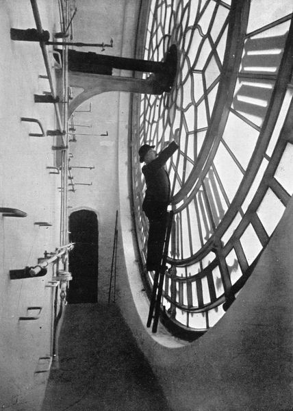 Inside the clock face of Big Ben, Palace of Westminster, London, c1905. Artist: Unknown