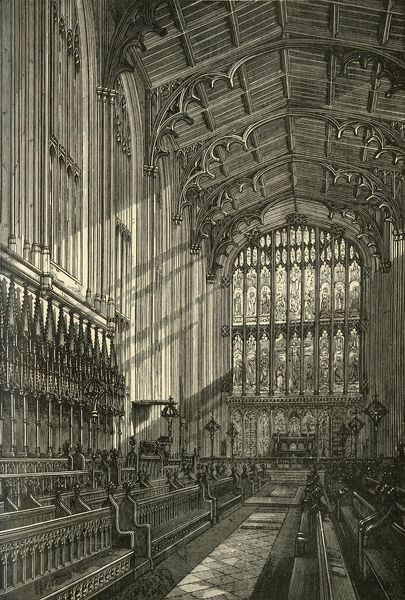 "'Interior of the Chapel, 1875', (1911). Work began on the chapel in 1441 under plans of the founder Henry VI. From ""A History of Eton College (1440-1910)"", by Sir H. C Maxwell Lyte, K.C.B. [Macmillan and Co. Limited, London, 1911]"