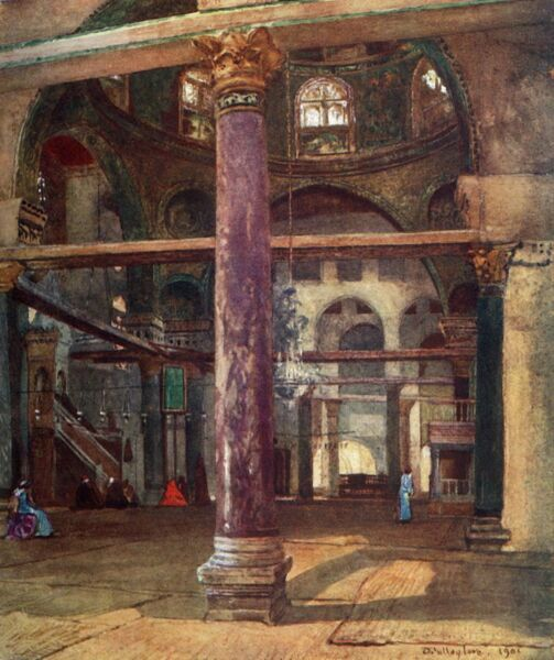 "'Interior of the Mosque of El Aksa from the South-East', 1902. Located on Temple Mount in Old City of Jerusalem, the third holiest site in Islam. From ""The Holy Land"", painted by John Fulleylove, R.I. [Adam & Charles Black, London, 1902]"