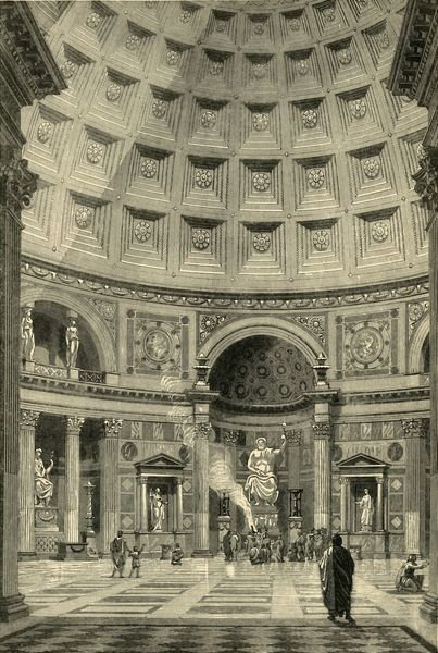"'Interior of the Pantheon at Rome (restored)', 1890. From ""Cassell's Illustrated Universal History Vol. II - Rome"", by Edmund Ollier. [Cassell and Company, Limited, London, Paris and Melbourne, 1890]"