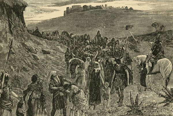 "'Israelites Going Into Capitvity', 1890. The Israelite people were sent into exile for worshiping false gods, wher Assyrian armies took thousands into captivity, c740 BC. (Kings:17). From ""Cassell's Illustrated Universal History, Vol. I - Early"