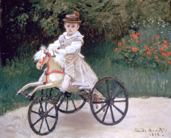 'Jean Monet on a mechanical horse', 1872. From a private collection