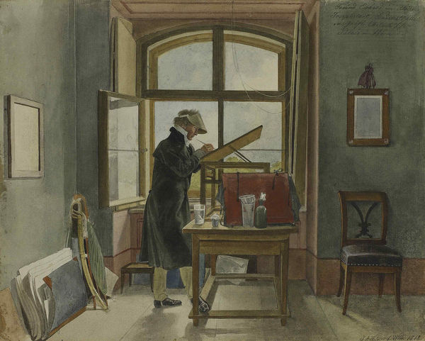 Johann Christoph Erhard in his studio, 1818. Found in the Collection of State A. Pushkin Museum of Fine Arts, Moscow