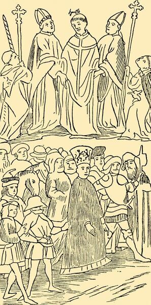 'John Huss Condemned and Led To Execution', c1930. Jan Huss's priest's robes are removed (top); he is clothed as a heretic and led to the stake (below). 'From drawings in an account of 1417 of the Council of Constance'. Jan Huss (1369-1415)