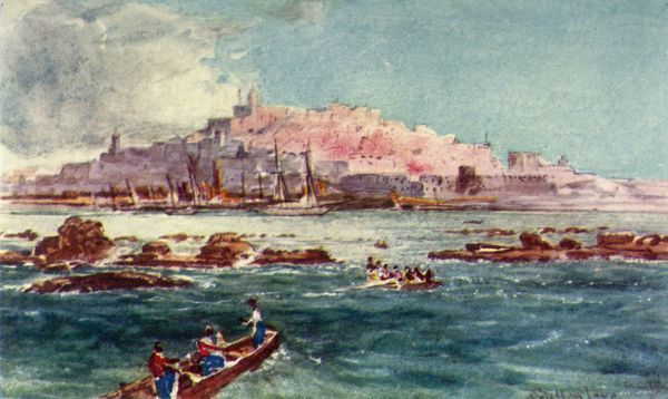 "'Joppa from the Sea', 1902. Bible as the name of the city of Jaffa. From ""The Holy Land"", painted by John Fulleylove, R.I. [Adam & Charles Black, London, 1902]"