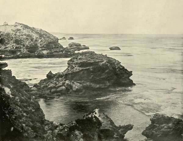 "'Jubilee Point, Back Beach, Sorrento', 1901. In 1803, Sullivan Bay in Sorrento became the site of Victoria's first mainland European settlement, due to a lack of fresh water the settlement moved to Hobart in Tasmania. From ""Federated Australia"""