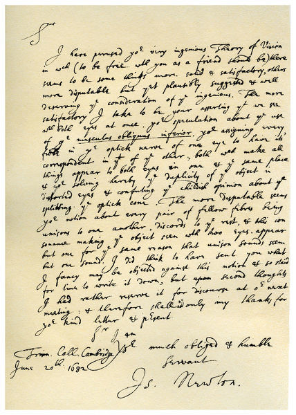 Letter from Sir Issac Newton to William Briggs, 20th June 1682.Artist: Isaac Newton