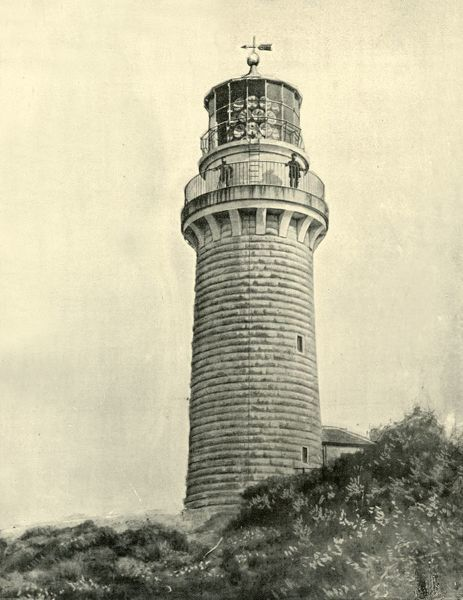 "'Light House, Cape Schank, Victoria', 1901. Cape Schanck Lighthouse, built from limestone on the southernmost tip of the Mornington Peninsula in 1859, the second coastal lighthouse in the Australian state of Victoria. From ""Federated Australia"""