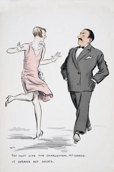 You must like the Charleston, Mr Greco, it wears out shoes.', from 'White Bottoms' pub. 1927,(colour block print)