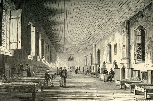 "'Long Chamber, 1844', 1911. Until the mid-17th century, boys ate in College Hall and slept in Long Chamber, a big, bare, dirty dormitory. From ""A History of Eton College (1440-1910)"", by Sir H. C Maxwell Lyte, K.C.B"