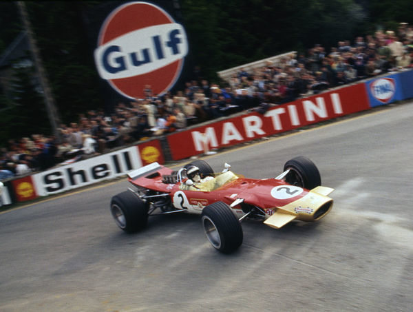 Lotus 49, Gold Leaf, driven by Jackie Oliver at the 1968 Belgian Grand Prix. Creator: Unknown