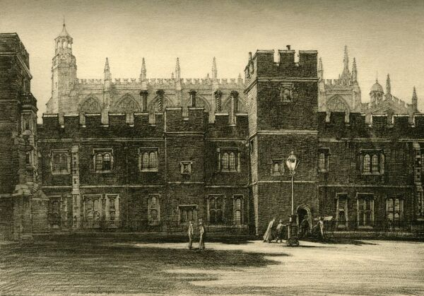 "'The Lower School and Long Chamber', 1911. Accommodation was completed in 1443, with a single class room (Lower School) below and a large dormitory (Long Chamber) above. From ""A History of Eton College (1440-1910)"", by Sir H"