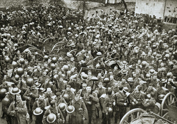 'The loyal North Lancashire Regiment parading for the trenches', France, World War I, 1916. During the Somme campaign