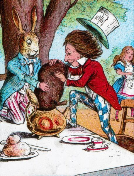 'The Mad Hatter and the March Hare trying to put the Dormouse into a teapot', c1910. From Alice in Wonderland, by Lewis Carroll. [W. Butcher & Sons, London, c1910]