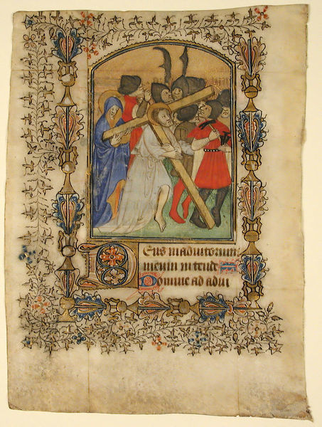 Manuscript Leaf from a Book of Hours... Illuminated Initial D and Christ Bearing the Cross