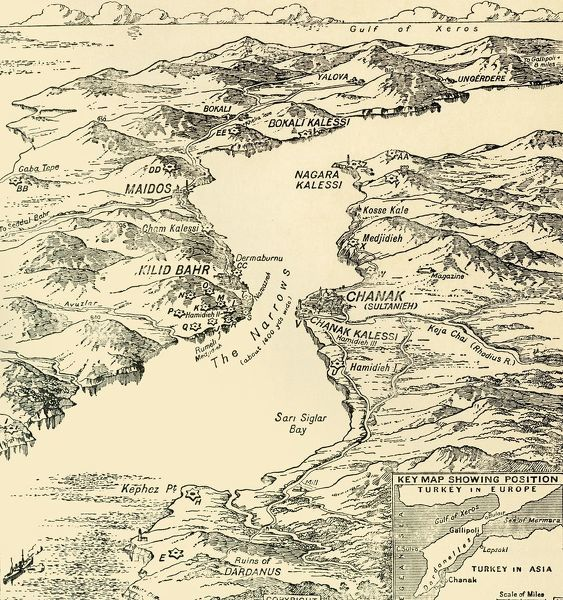 "Map of the Dardanelles, First World War, 1915, (c1920). 'Bird's-eye View' of the Dardanelles from the Entrance to the Straits to the Narrows'. From ""The Great World War - A History"" Volume III, edited by Frank A Mumby"