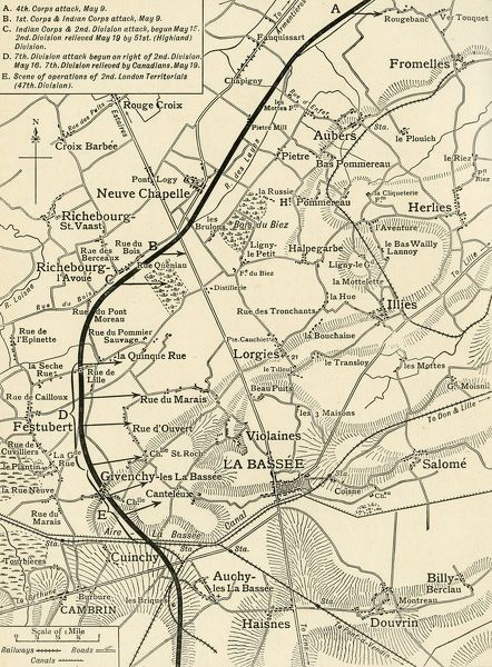 "'Map illustrating the Operations of the First Army, under Sir Douglas Haig, during May and June, 1915', First World War, (c1920). Part of northern France showing British positions near the town of Neuve-Chapelle. From ""The Great World War - A History"" Volume III"