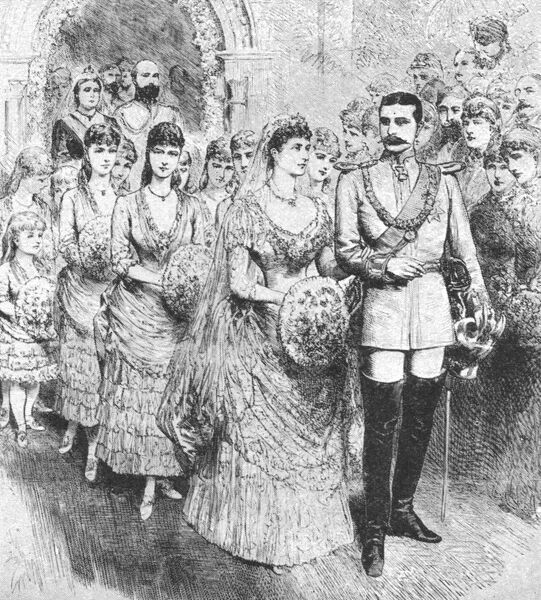 'The Marriage of Princess Beatrice with Prince Henry of Battenberg At Whippingham Church, July 23, 1885', (1901). Prince Henry of Battenberg (1858-1896) married Beatrice (1857-1944), the youngest daughter of Queen Victoria, at St Mildred's Church, Whippingham, Isle of Wight