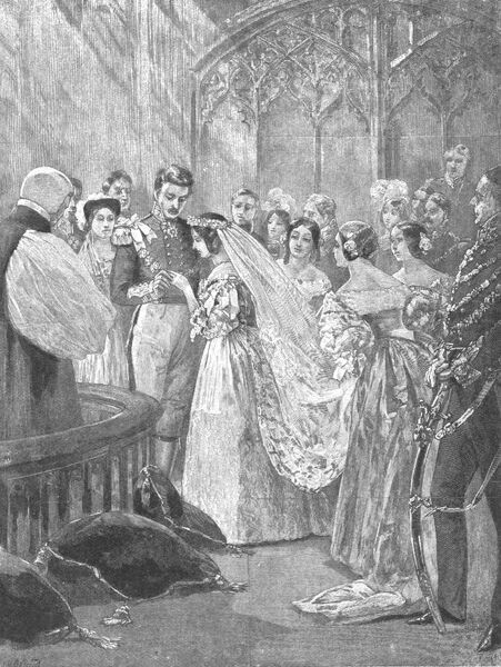 'The Marriage of Queen Victoria and Prince Albert at St. James's Palace, February 10, 1840', (1901). Victoria (1819-1901) and Albert (1819-1861) were married by Archbishop of Canterbury William Howley at the Chapel Royal in St James's Palace in London