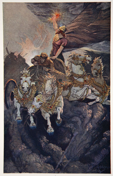 'Merodach sets forth to attack Tiamat', 1915. Illustration from Myths of Babylonia and Assyria by Donald Alexander Mackenzie, 1915