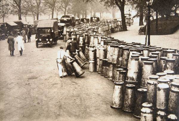 Milk churns being delivered to Hyde Park, London, during the General Strike, 8 May 1926