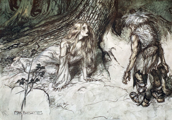 'Mime finds the mother of Siegfried in the forest', 1924. Illustration from Siegfried and the Twilight of the Gods. The dwarf Mime is forced to explain how he came across Sieglinde dying in childbirth in the forest and how he took in Siegfried to bring him up