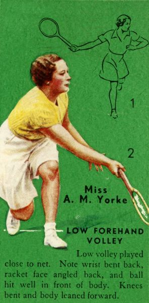 'Miss A. M. Yorke - Low Forehand Volley', c1935. From Tennis - An Album of Famous Players in Action, by Gordon R. Weddell. [John Player & Sons,, c1935]
