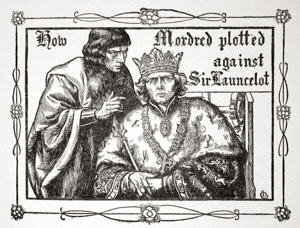 'How Mordred plotted against Sir Launcelot', 1905. An illustration from Stories of King Arthur and the Round Table by Beatrice Clay, 1st Edition, 1905
