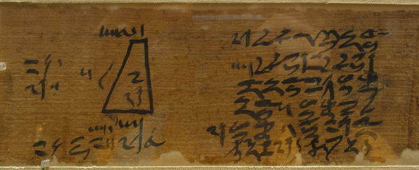 The Moscow Mathematical Papyrus (Golenishchev Mathematical Papyrus) Detail: 14th problem, ca 1840 BC. Found in the Collection of State A. Pushkin Museum of Fine Arts, Moscow