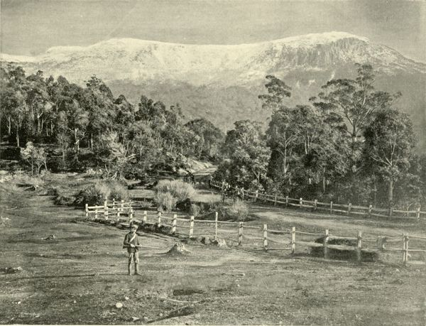 "'Mount Wellington, from the Huon Road', 1901. The original Huon Road was a two-lane road skirting Mount Wellington. From ""Federated Australia"". [The Werner Company, London, 1901]"