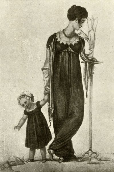 "'Mourning dress of mother and child, of black cashmere with scarf drapery of crepe; child's cap of white mull with black ribbon', 1809, (1937). From ""History of American Costume - Book One 1607-1800"", by Elisabeth McClellan"