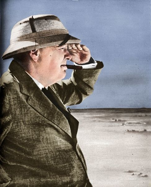 'Mr. Churchill Spies the Enemy', 1942. Winston Churchill pays a visit to the El-Alamein area, August 19th, 1942. From The War Illustrated Volume 6 edited by Sir John Hammerton. [The Amalgamated Press Ltd, London, 1942]. (Colorised black