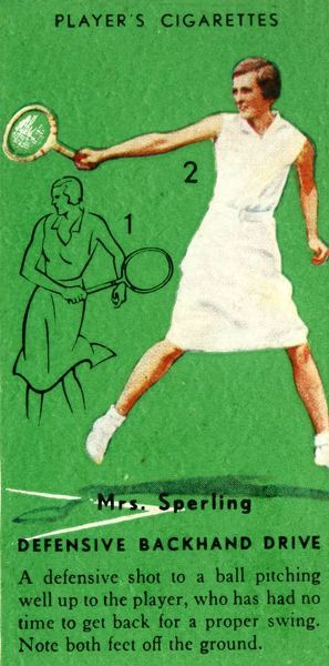 'Mrs. Sperling - Defensive Backhand Drive', c1935. From Tennis - An Album of Famous Players in Action, by Gordon R. Weddell. [John Player & Sons,, c1935]