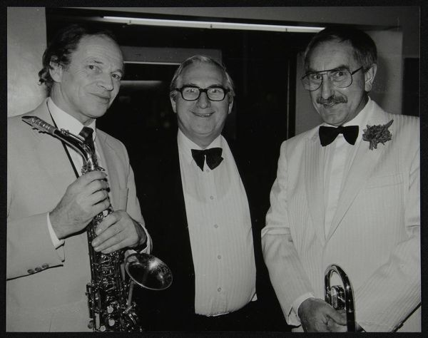John Dankworth, Dennis Matthews (Managing Director of Crescendo and Jazz Music), and Don Lusher, at a concert by the Ted Heath Orchestra, Barbican Hall, London, 5 December 1985