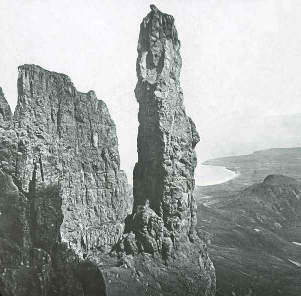 'Needle Rock, Skye'. The Needle, basalt rock formation on the Isle of Skye off the west coast of Scotland, created over centuries by a combination of volcanic activity, landslip and weathering. Glass lantern slide